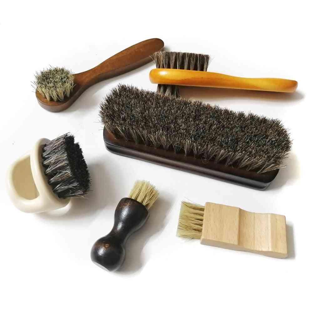Horse Hair Pig Bristle Shoe Brush Oil Polish Tool