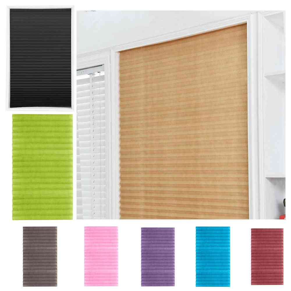 Self-adhesive Pleated Blinds Half Blackout Window Curtains For Bathroom Kitchen Living Room Balcony Shades For Window Door
