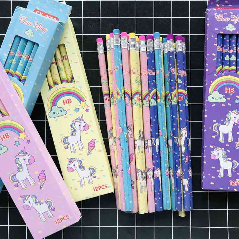 Cute Rainbow Unicorn Triangle Hb Standard Wooden Pencil Student Stationery Writing Drawing Pencils School Office Supply