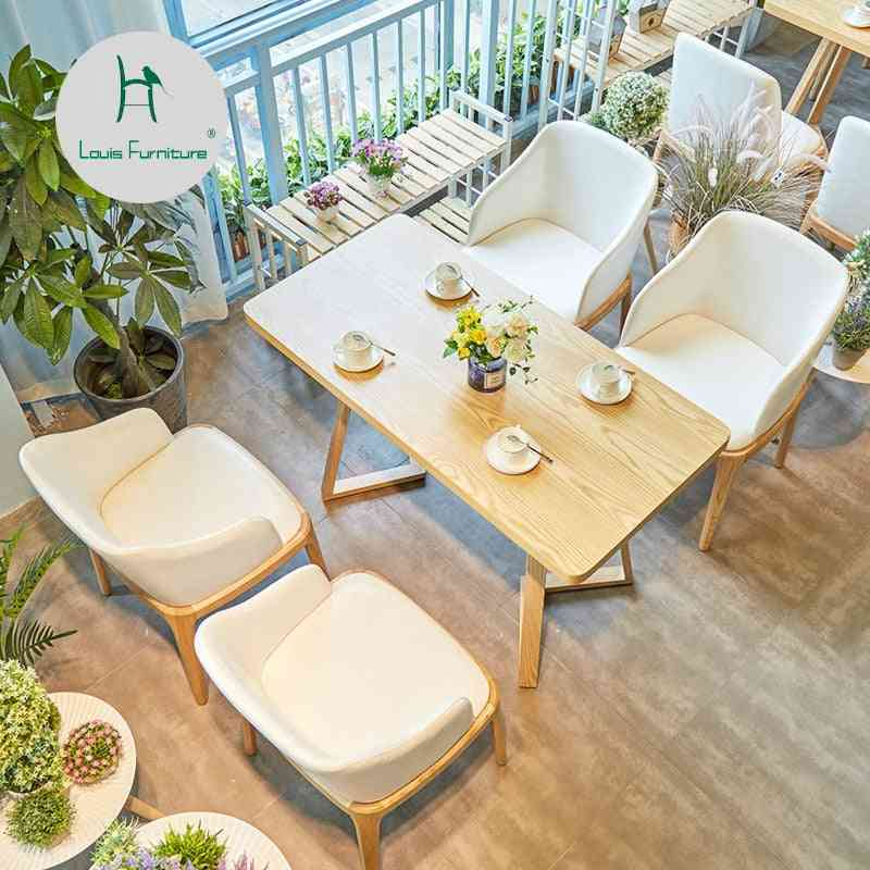 Louis Fashion Cafe Furniture Sets Japanese Style Leisure Coffee Shop Western Restaurant Solid Wood Tables And Chairs