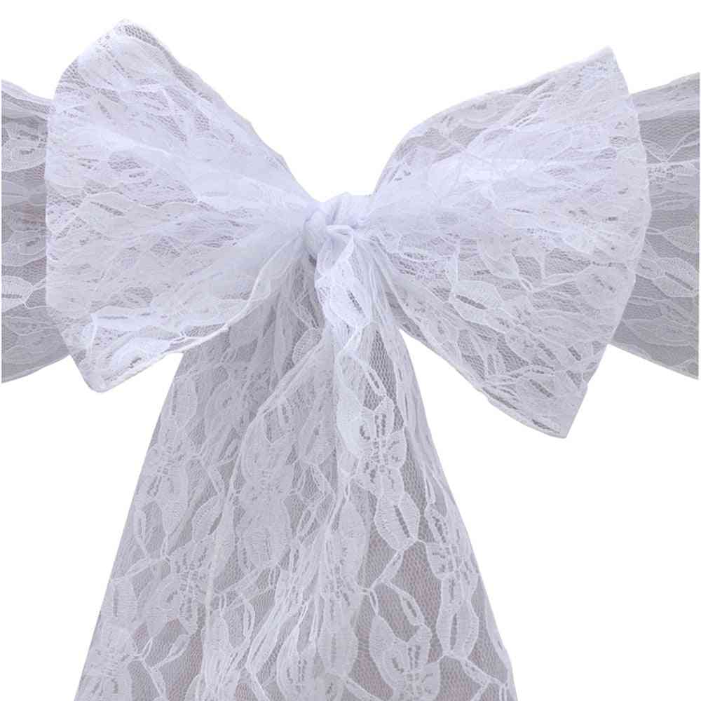 Lace Chair Sash Bow Ties Butterfly Cover