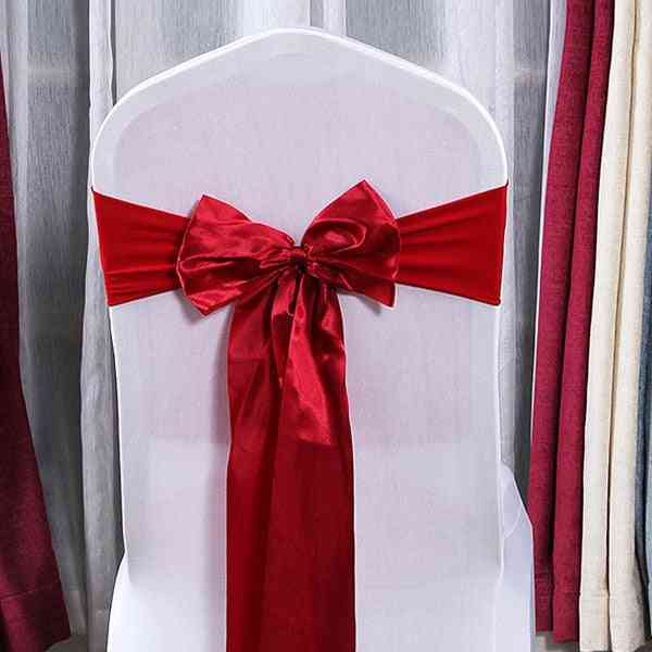 Decoration Knot Chair Bow Sashes Satin Spandex Chair Cover Band Ribbons