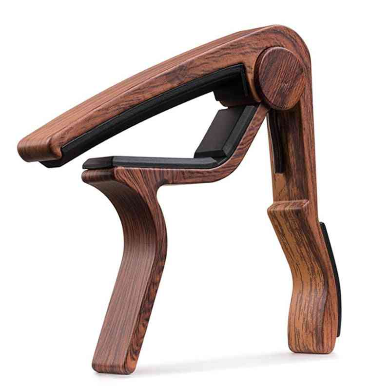Wood Grain Guitar Capo With Perfect Silicon Cushion, Tuning Musical Instrument Accessories Clip
