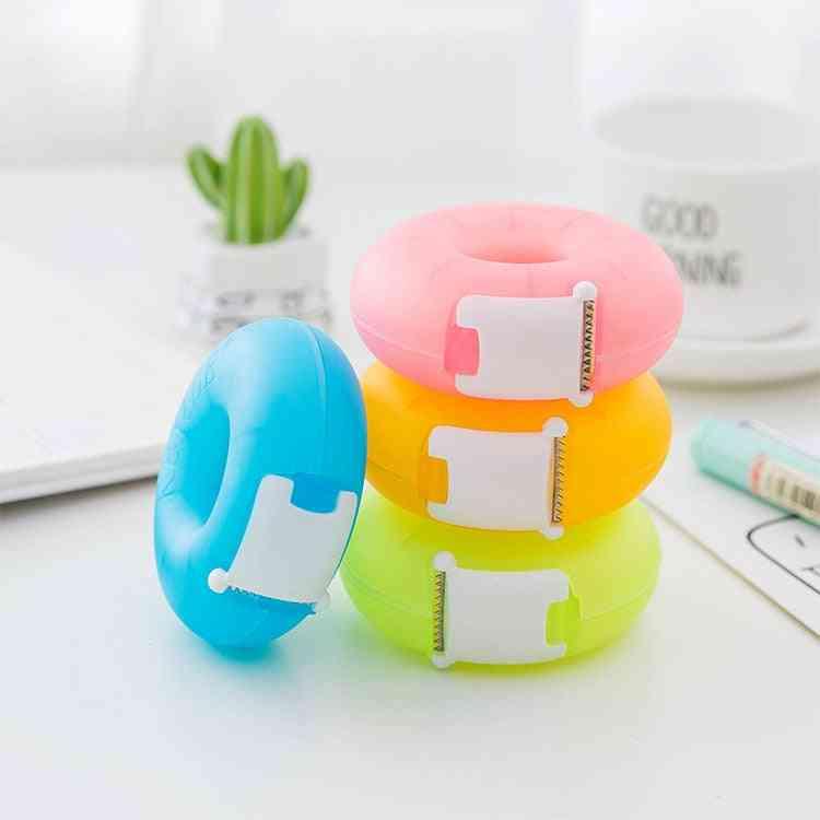 Stationery Colorful Doughnut Masking Tape Cutter, Washi Storage Organizer, Office Dispenser Supplies