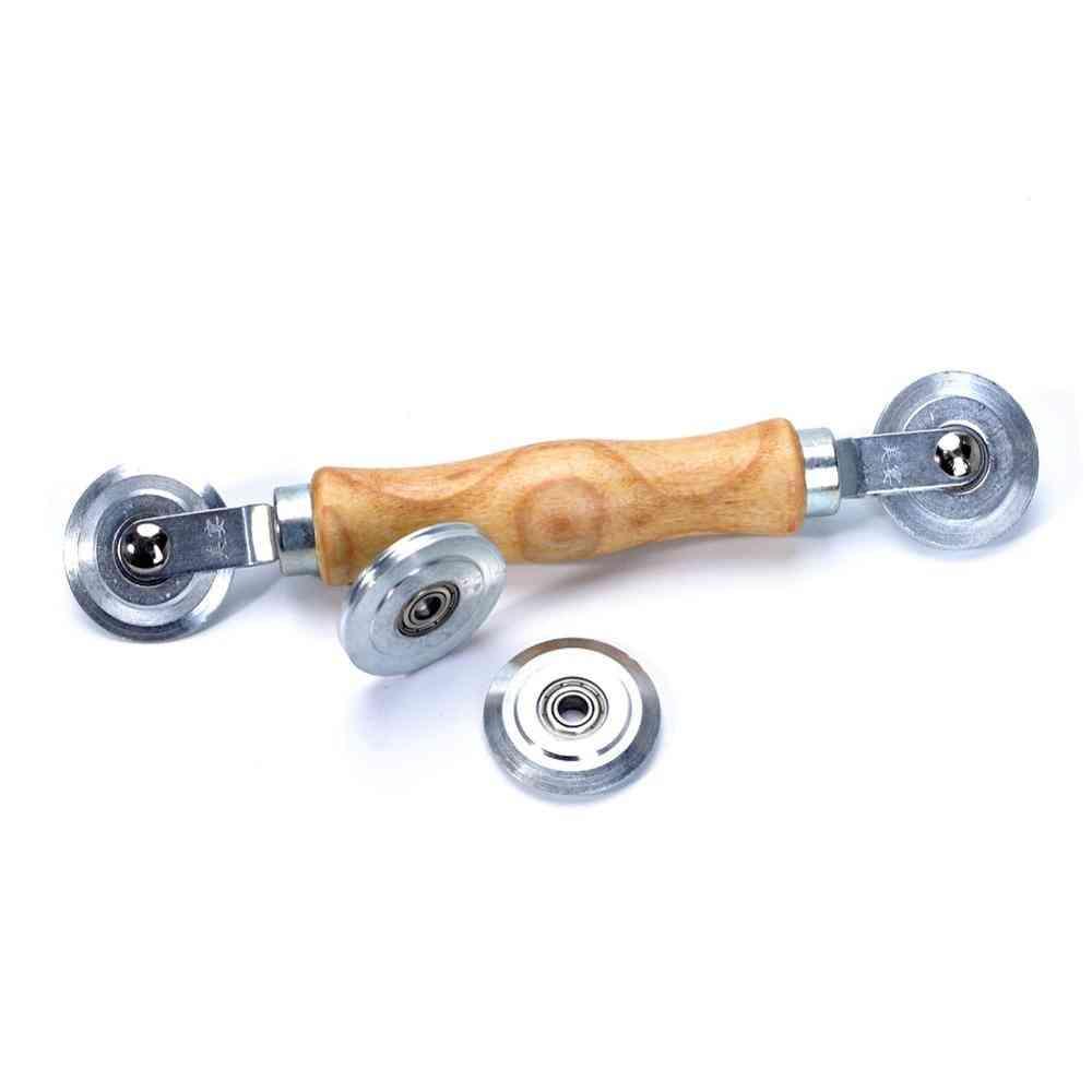 Wooden Handle And Steel Wheels Rolling Tool For Double Window, Installation Hand Spline Roller, Household, Durable, Screen Door