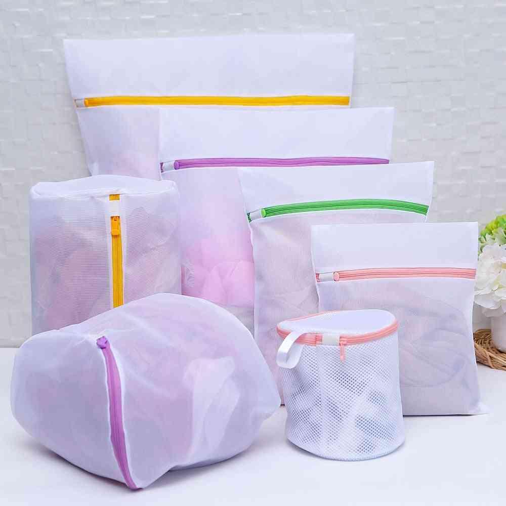 Zipped Laundry Wash Mesh Bag Clothing Care Foldable