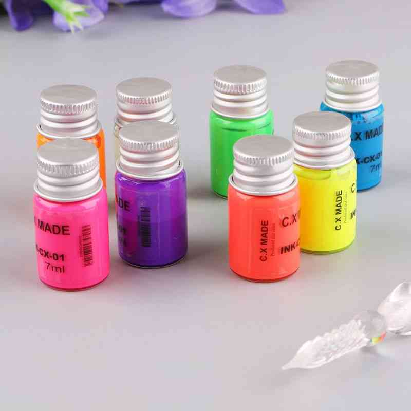 Invisible Fluorescence Bottled Dip Signature Pen Ink With Glass Fountain