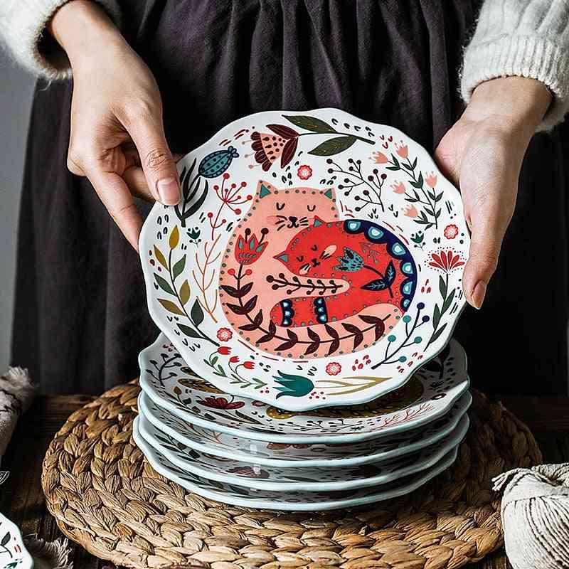 Colorful Cat Under-glazed Ceramic Dinner Dishes