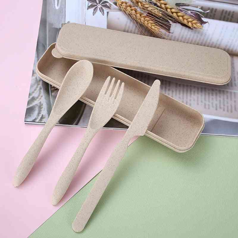 Wheat Straw Knife Fork Spoon Japan Style Student Dinnerware Sets