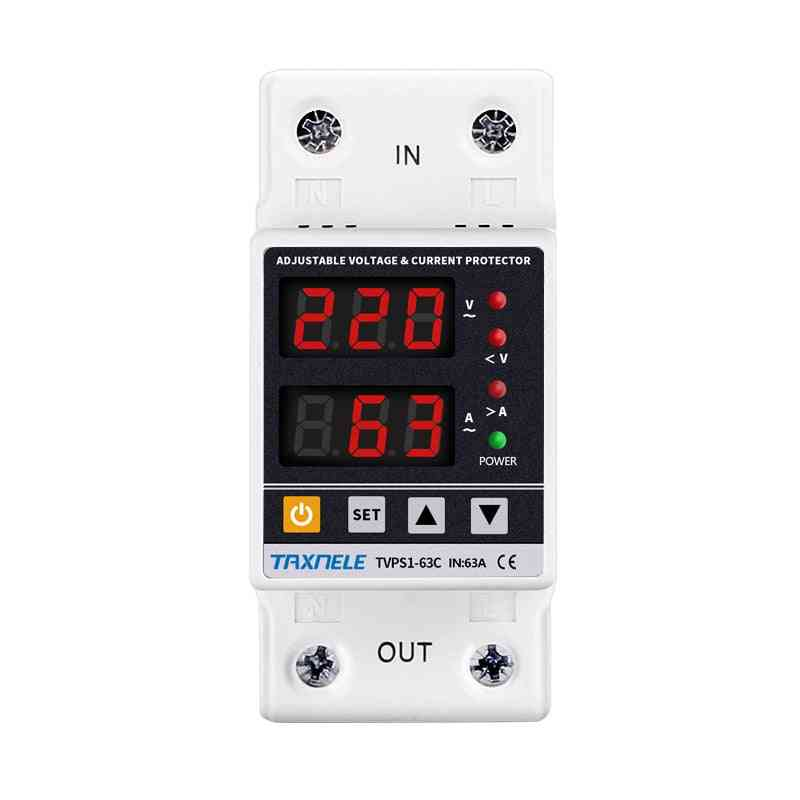 Dual Display Din Rail Adjustable, Digital Over Under Voltage Relay, Surge Protector, Limit Current Protection
