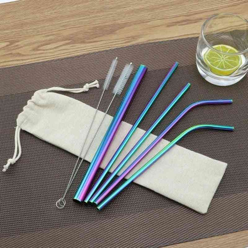 Stainless Steel Metal Straw With Cleaner Brush For Mugs