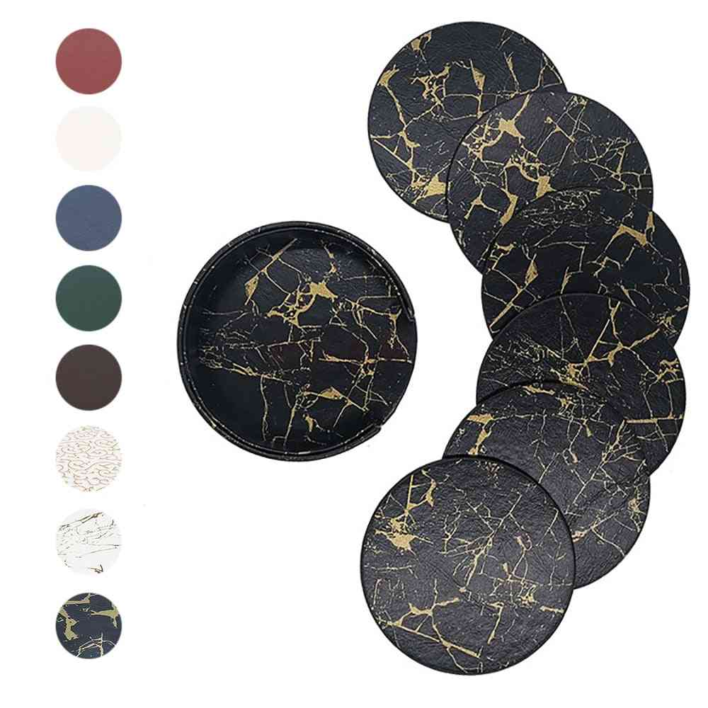 Pu Leather Marble Coaster Drink Coffee Cup Mat