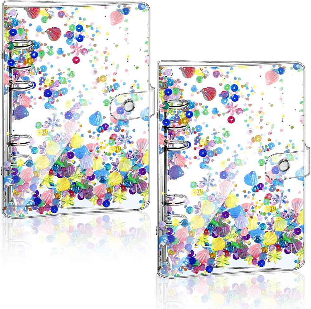 Glitter Binder Cover Clear Quicksand Decoration Notebook Shell With Snap Button