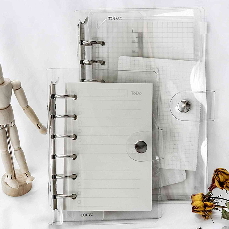 Transparent Notebook Cover Soft Pvc Binder Cover A5/a6/a7 Standard 6 Holes Snap Button Closure