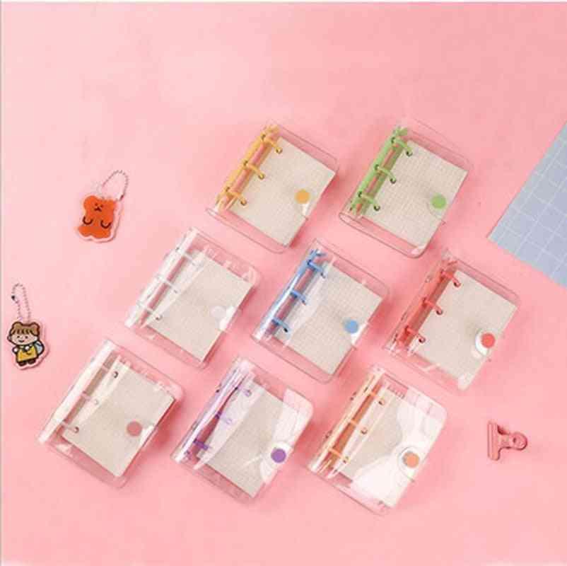 Creative Cute 3 Ring Mini Loose-leaf Hand Book Transparent Student Portable Notebook Ring Binder Kawaii School Supplies