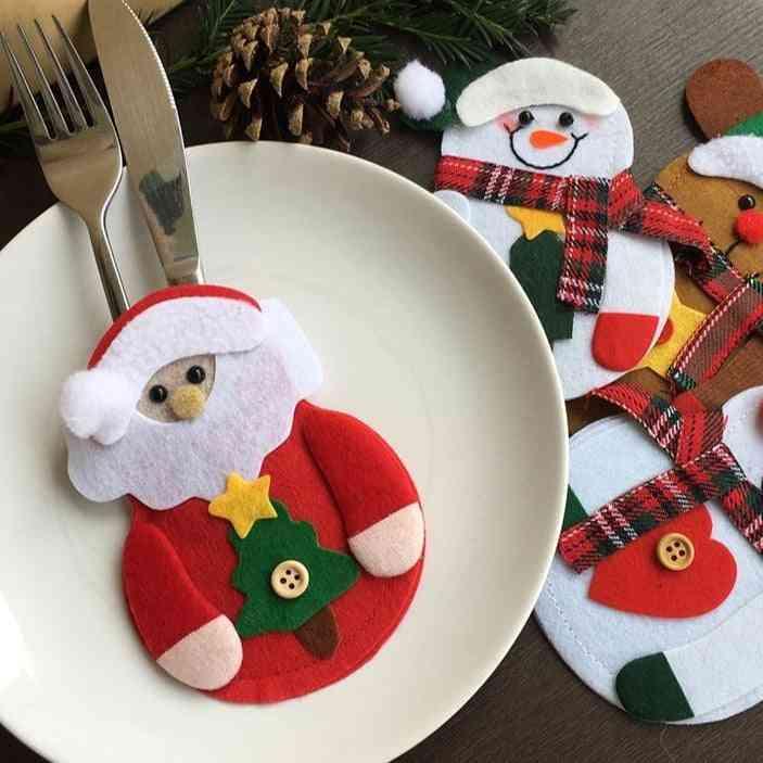 Merry Christmas Knife Fork Cutlery Bag Set