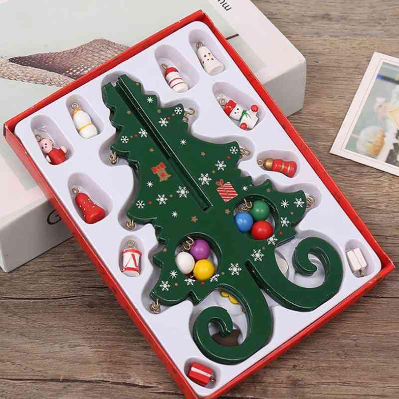 Handmade Stereo Wooden Christmas Tree Scene Decorations