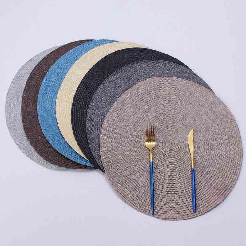 Round Woven Placemats, Pp Waterproof Dining Table Mat