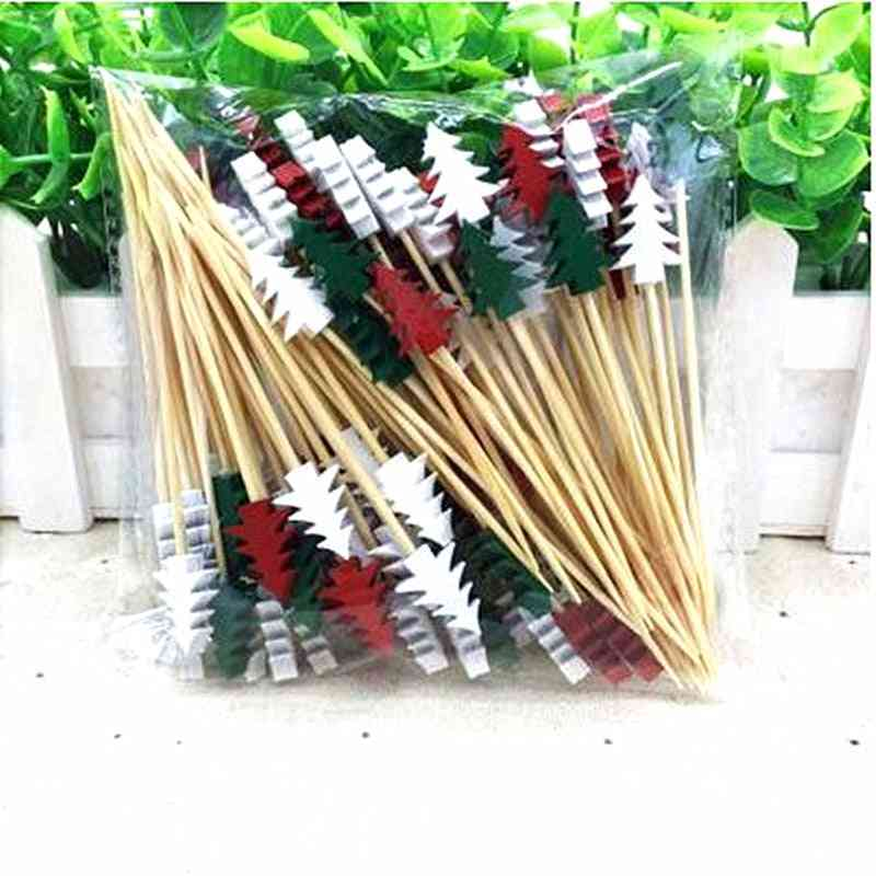 Disposable Christmas Fruit Fork Creative Cocktail Sign Pastry Decoration Sign / Ktv / Party / Bar
