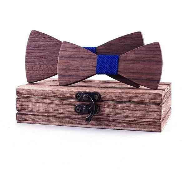 School Kids Bow Wedding Plaid Solid Wood Tie Necktie
