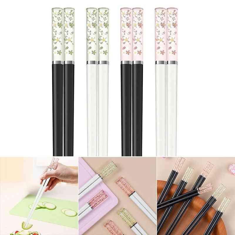 Amber Cherry Blossoms Alloy Chopsticks