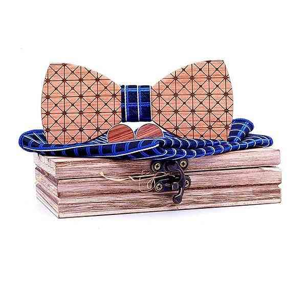 Wood Mens Bow Tie Plaid Butterfly Wooden Bow Ties Tie Hanky Cufflink Set For Business Wedding Party