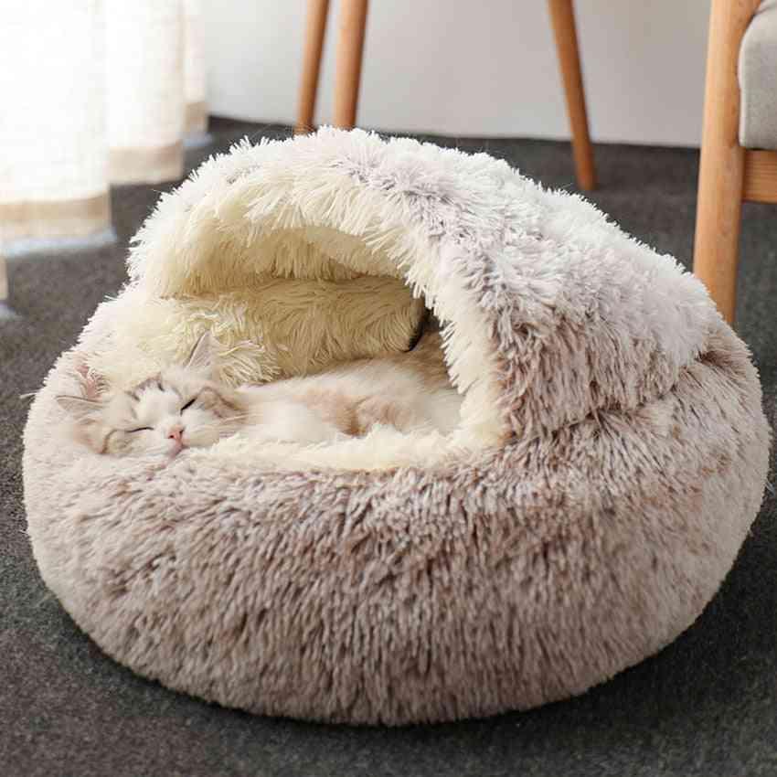 Cat Warm House, Soft Long Plush Pet Dog Bed