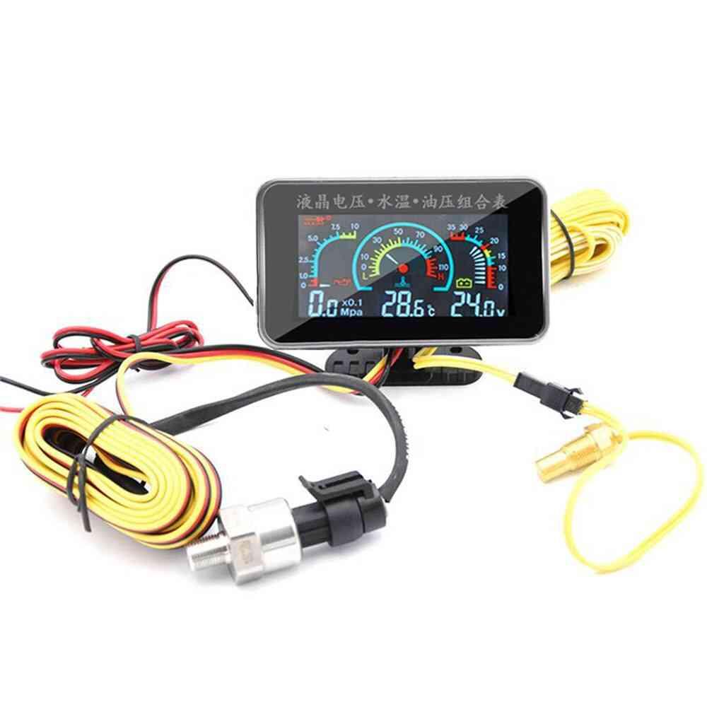 Lcd Car Digital Oil Pressure Gauge Voltmeter Water Temp Meter