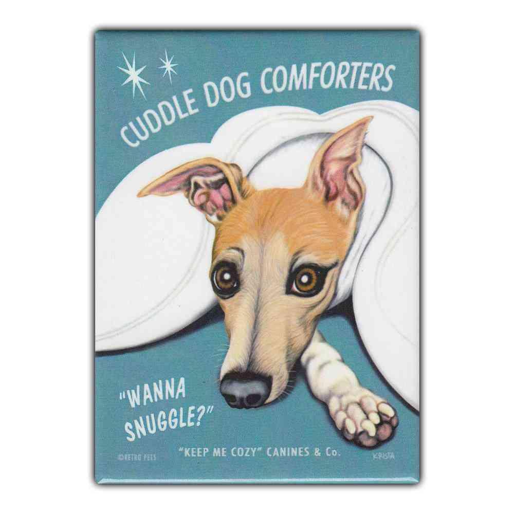 Magnet, Refrigerator Magnet, Cuddle Dog Comforters, Whippet, 2.5
