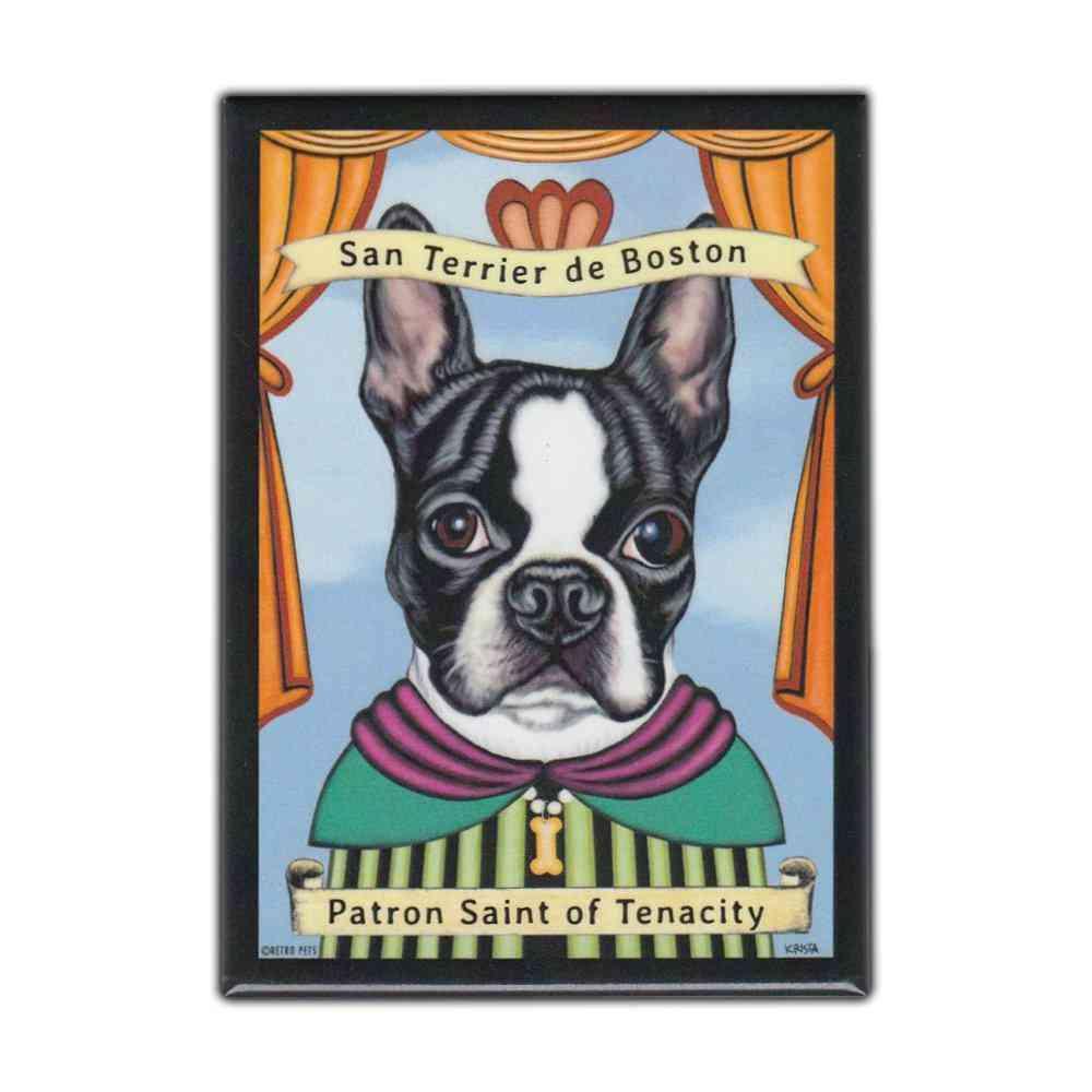 Magnet, Refrigerator Magnet, Patron Saint Dog Series, Boston Terrier,