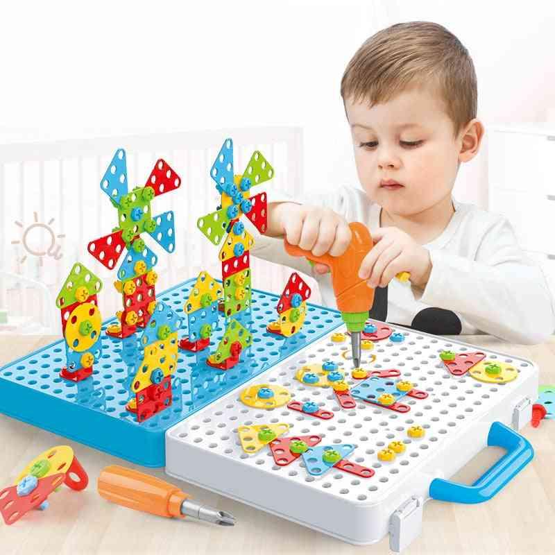 Kids Drill Screw Nut Puzzles Pretend Play Tool Drill