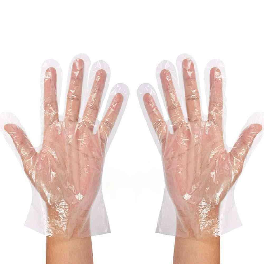 Clear Disposable Gloves Transparent Plastic Gloves Latex Prep Safe Gloves