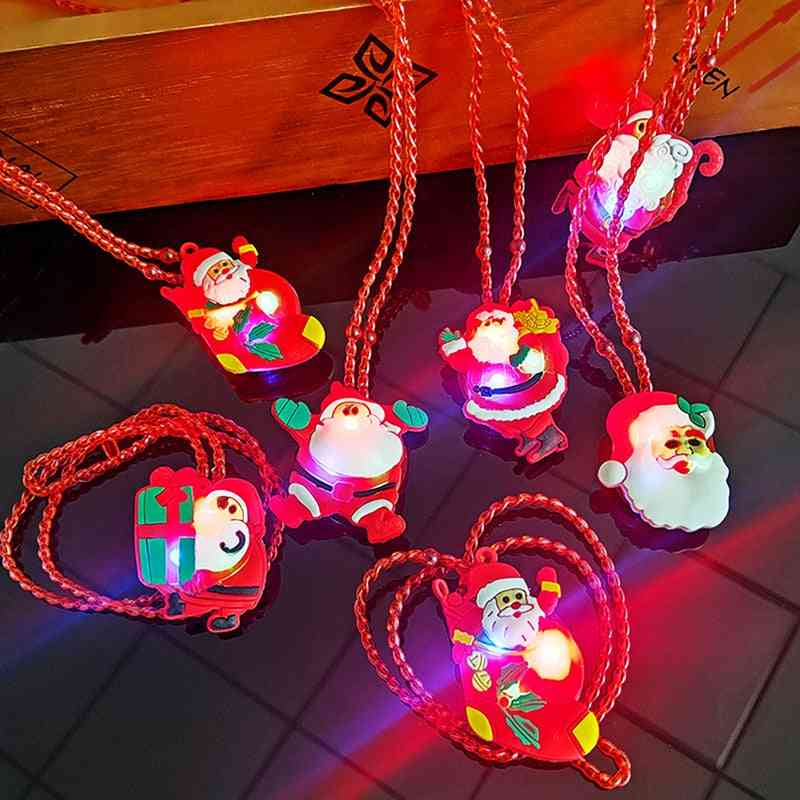 Led Luminous Necklace For, Kids, Cartoon Christmas Party Props, Pendant, Necklace, Lights Glowing Toy,