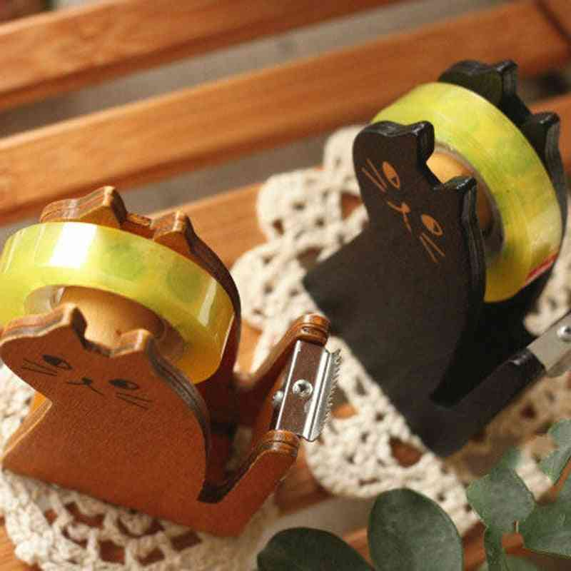 Cat Wooden Tape Dispenser / Holder / Cutter / With Free Colorful Tapes Office & School Stationery
