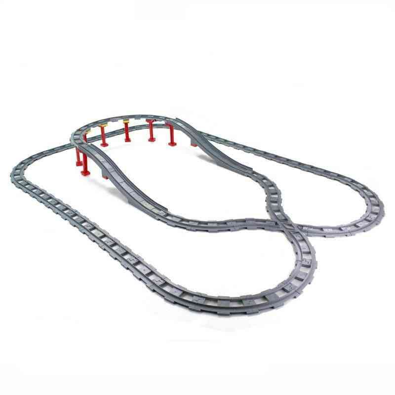 Building Blocks Train Track With Bridge Creative Bricks Set Railway Toy