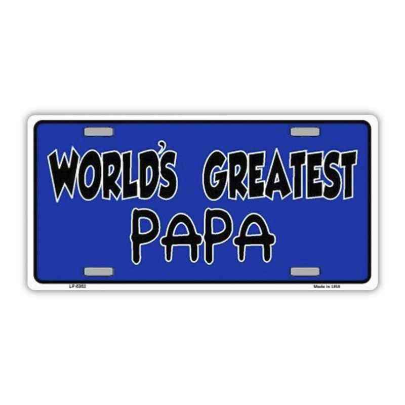 License Plate, Metal Vanity Tag Cover, World's Greatest Papa (father