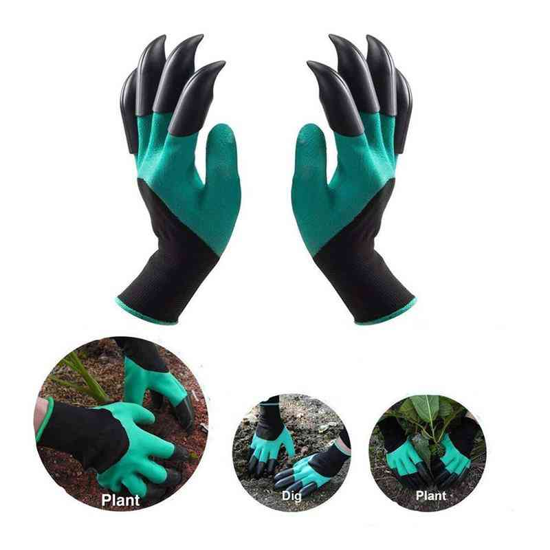 Abs Plastic Garden Rubber Gloves With Claws