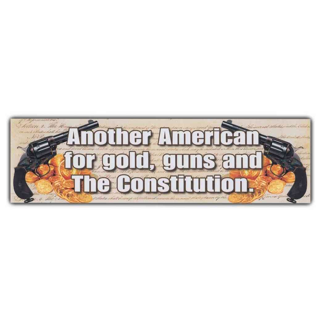 Sticker, Bumper Sticker, Another American For Gold, Guns And The