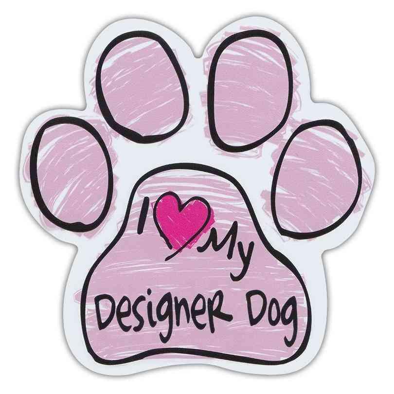 Pink Scribble Paw Magnet Sticker - I Love My Designer Dog