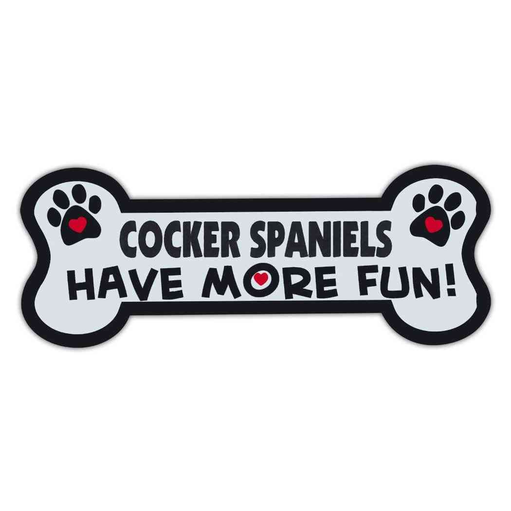 Magnet, Dog Bone, Cocker Spaniels Have More Fun!, 7.25