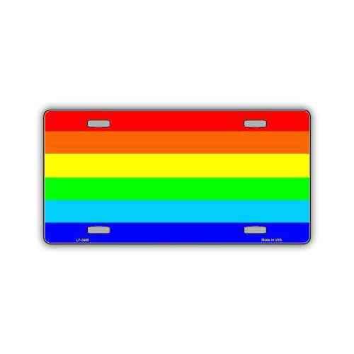 License Plate, Metal Vanity Tag Cover, Rainbow Pride Flag, 12