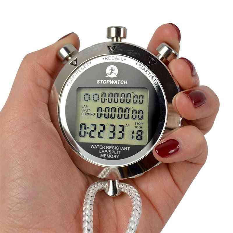 Waterproof Digital Stopwatch, Metal Handheld Lcd Display, Chronograph Outdoors Timer Counter