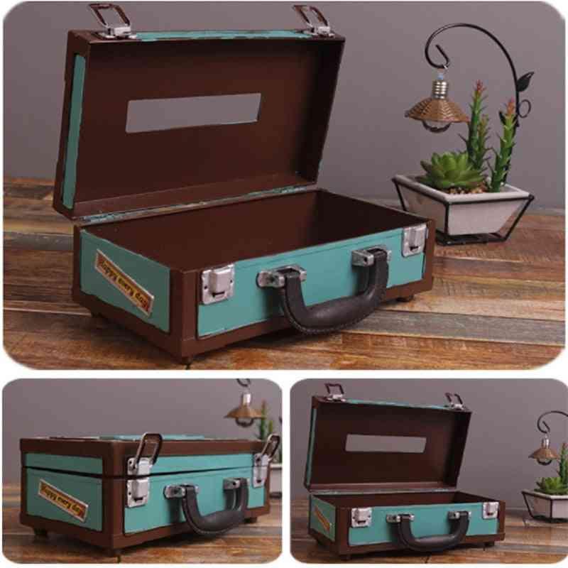 Retro Suitcase Shape Tissue Box, Napkin Storage Box