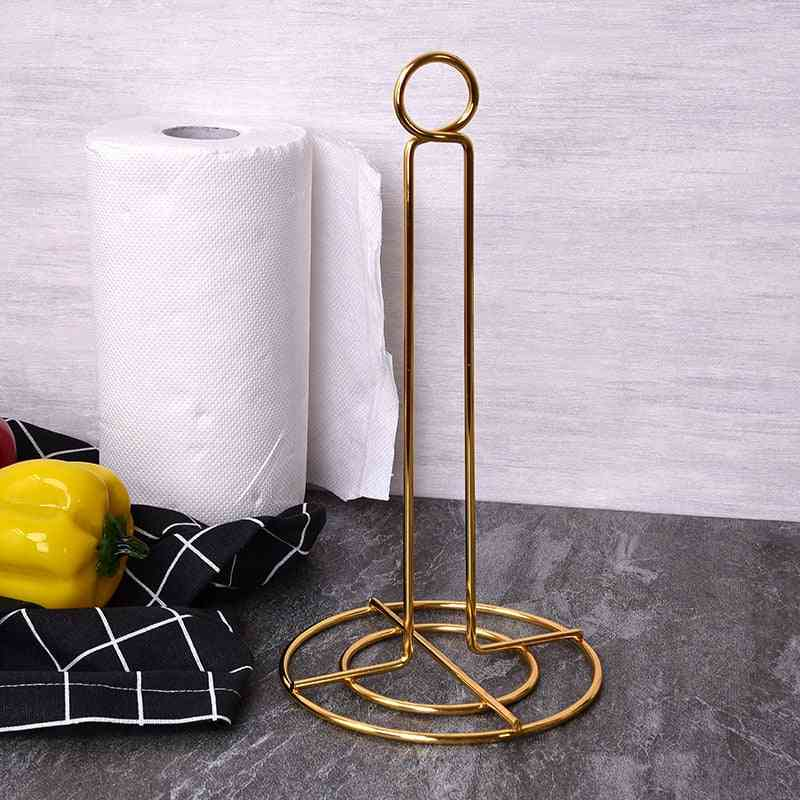 Golden Paper Towel Rack, Vertical Roll Holder, High-grade Iron Paper Holder