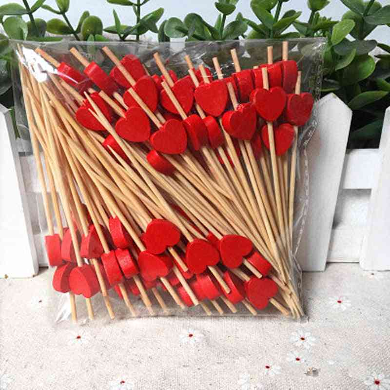 9cm Red Peach Heart Fruit Fork Sticks & Buffet Cupcake Toppers Cocktail Forks