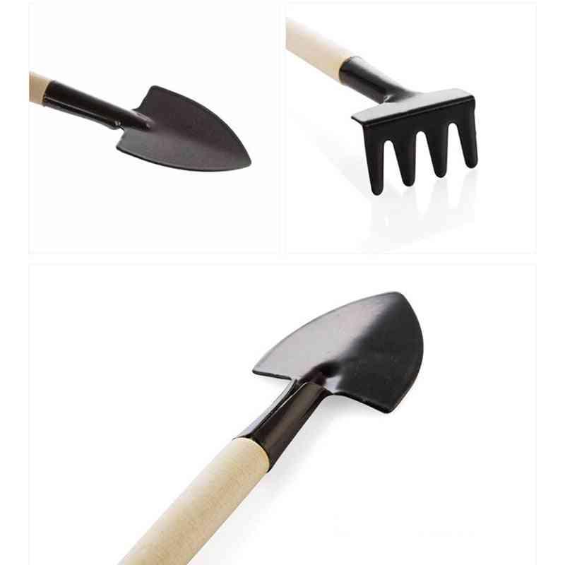 Mini Shovel Rake Set Wooden Handle Metal Head Shovel