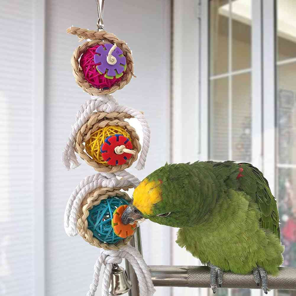 Hanging Cockatiel Parakeet Swing Cage Bird Chew With Bell