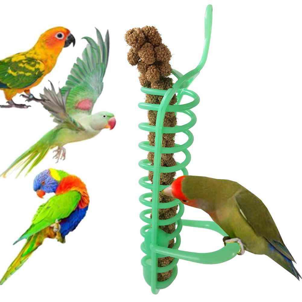 Portable Hanging Spiral Feeder Birds Parrot Pet Food Fruit Holder