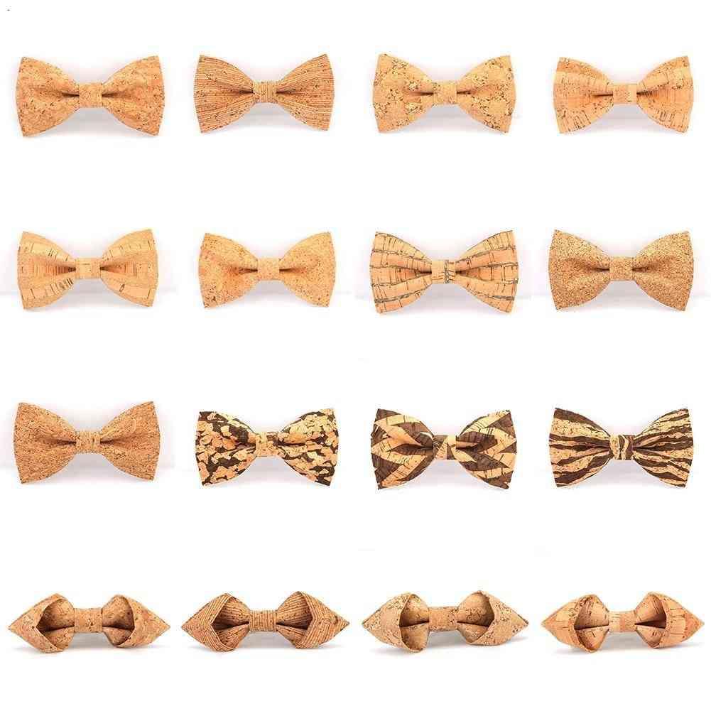 Fashion Slim Cork Wooden Bow Tie Skinny Wedding Party Neck Ties