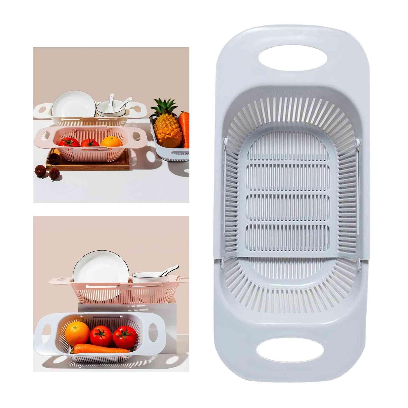 Adjustable Over The Sink Colander Strainer & Fruits Vegetables Drain Basket